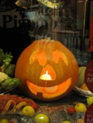 jack-o-lantern in shop window