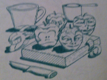 drawing of apple carvings