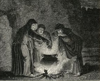 drawing of three witches around a cauldron